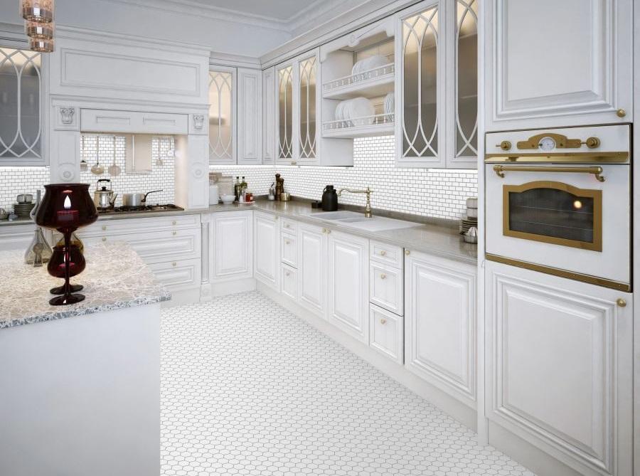 Mini cegiełka biała szkliwiona na podłodze w kuchni - Raw Decor