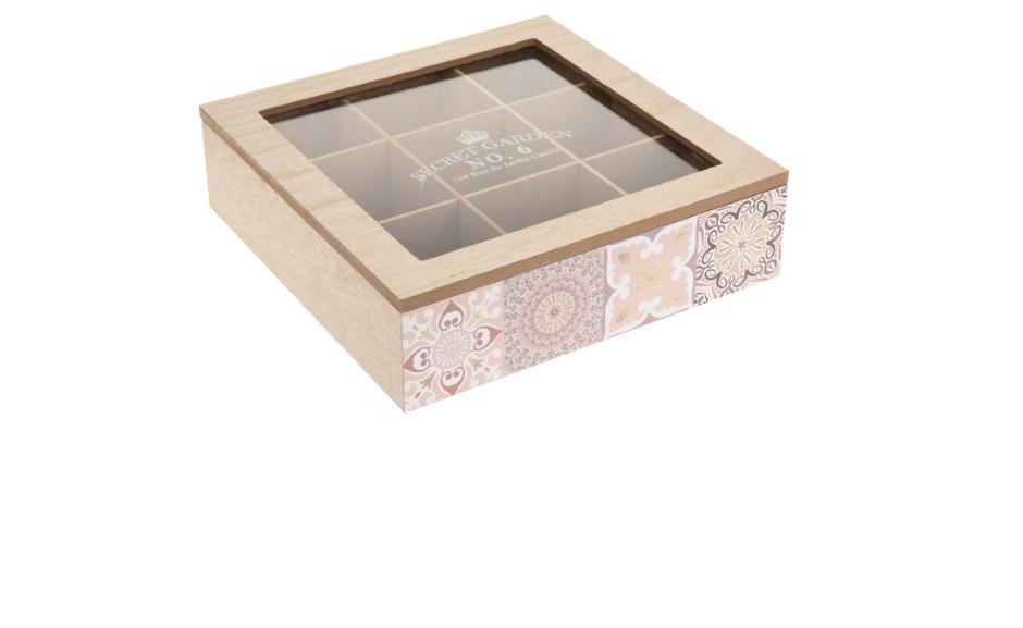 Drewniana herbaciarka KYRA DESIGN szkatułka na herbatę