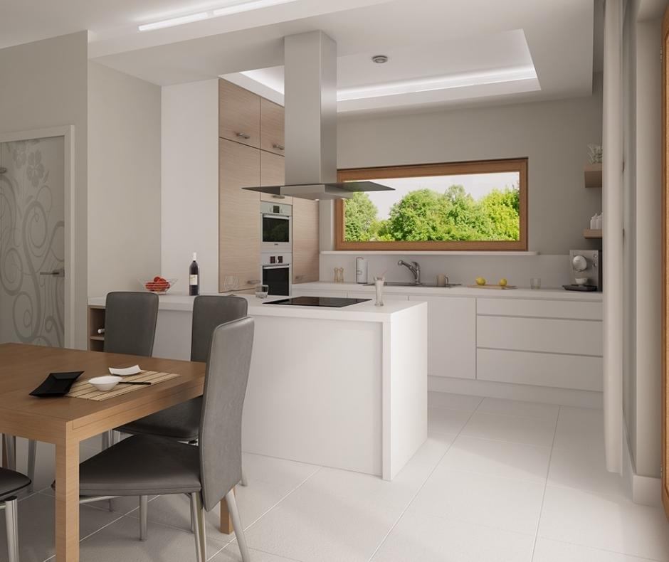 Niewielka, otwarta kuchnia w mieszkaniu  Galerie Venis