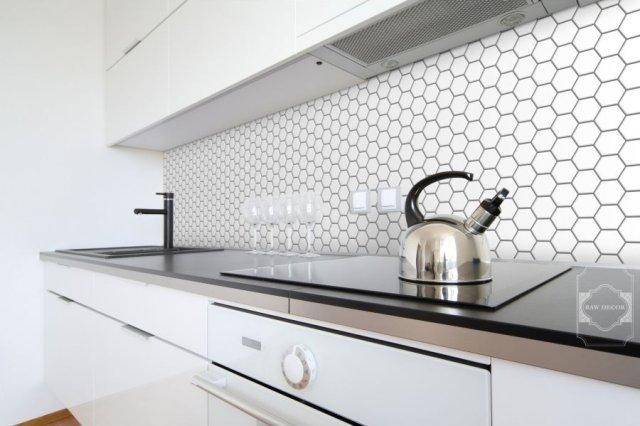 Mozaika Hexagon biała szkliwiona