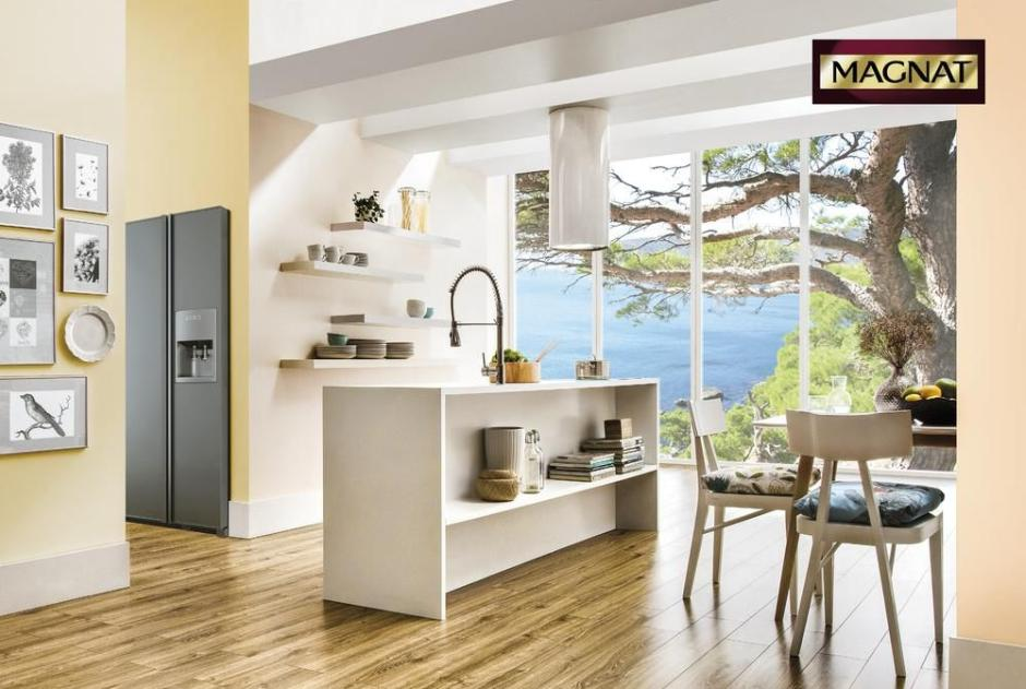 Magnat pastelowe ściany w kuchni otwartej na salon  kuchnia otwarta na salon