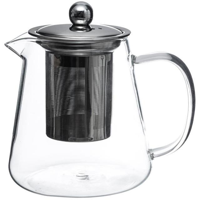 Szklany przezroczysty czajniczek wyposażony w stalową zaparzaczkę z przykrywką