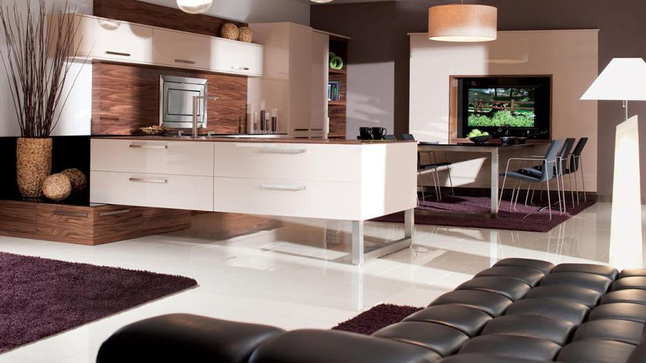 Meble Rust w aranżacji kuchni otwartej na salon  kuchnia   -> Meble Kuchnia Salon