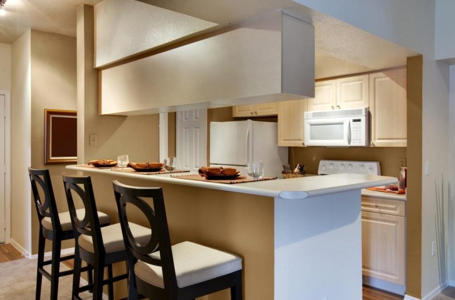 Aranżacja małej kuchni w kolorze beżu  Śnieżka   -> Inspiracje Kuchni Malej