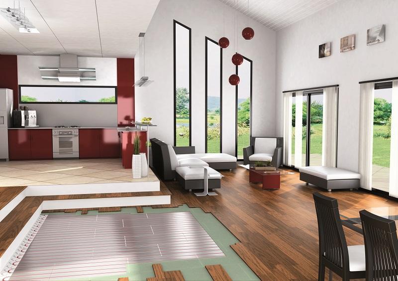 Aranżacja otwartej kuchni  ogrzewanie podłogowe Pentair   -> Kuchnia Weglowa Centralne Ogrzewanie