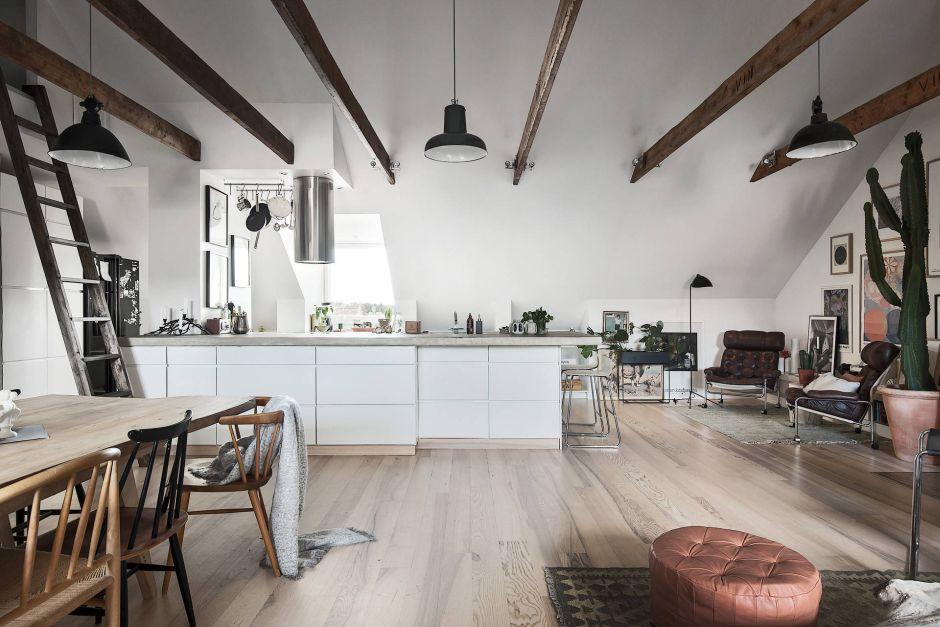 Skandynawski klimat kuchni otwartej na salon