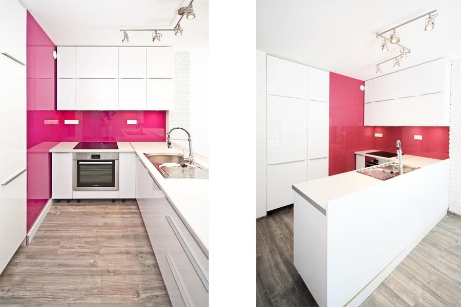 Różowo Biała Otwarta Kuchnia Kuchnia Otwarta Na Salon