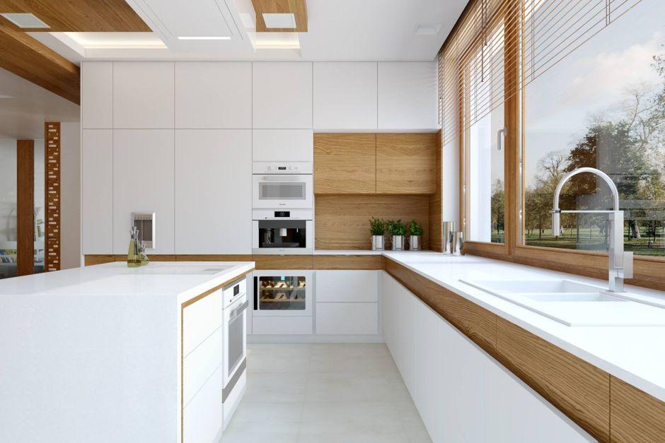 Biel I Drewno W Aranżacji Nowoczesnej Kuchni Kuchnia W