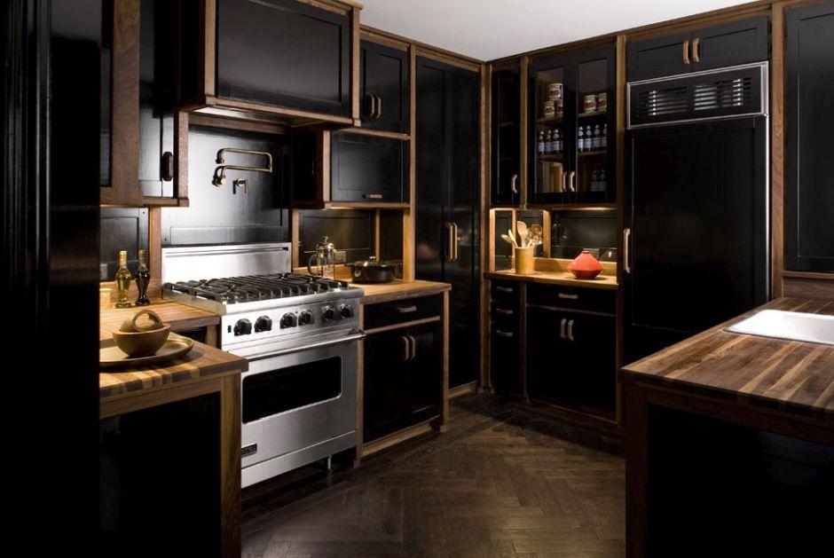Aranżacje Kuchni Zdjęcie Czarna Kuchnia Z Drewnem Na