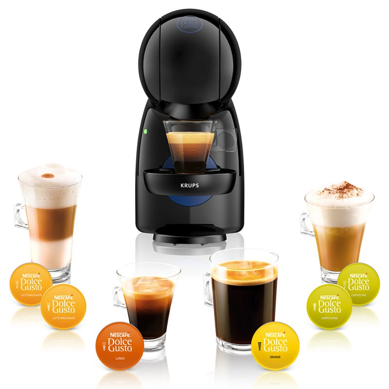 Czarny ekspres do kawy Piccolo XS oraz kawa Latte Macchiato