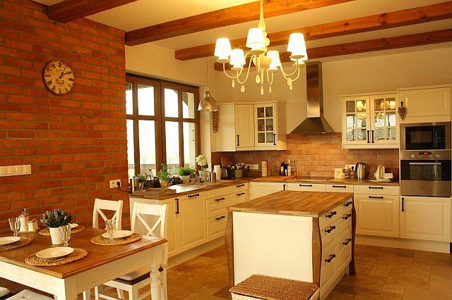Ceglana ściana w kuchni  trendy kuchenne  Kuchenny com pl # Kuchnia Cegla Okap