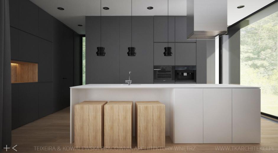 Drewniane hokery w kuchni w stylu minimalistycznym