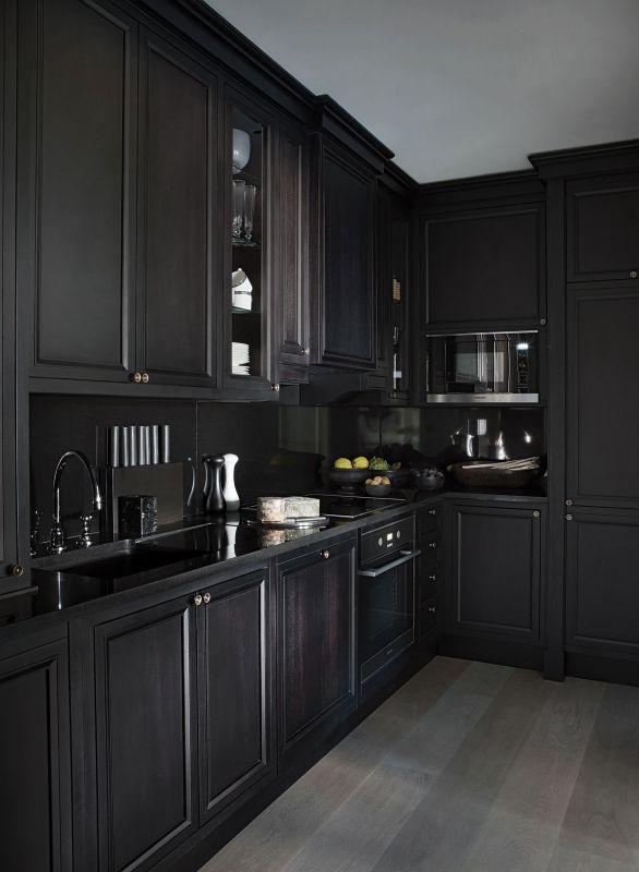 Frezowane Fronty Mebli W Czarnej Kuchni Kuchnia W Kolorze