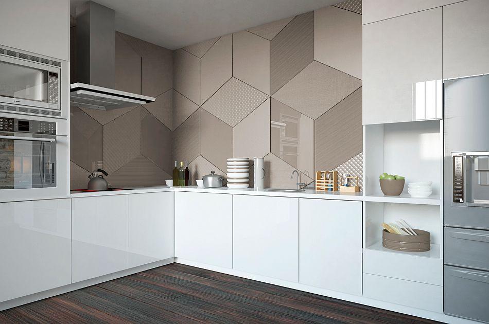 Szkło Colorimo Na ścianie W Kuchni Ułożone We Wzór Hexi