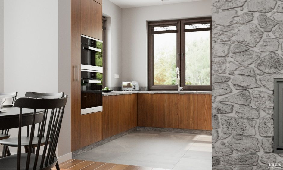 Kuchnia W Kolorze Szarości I Drewna Drewno W Kuchni