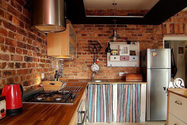Ceglana ściana w kuchni  trendy kuchenne  Kuchenny com pl -> Kuchnia Tapeta Cegla