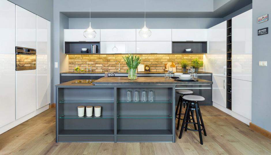 Ceglana ściana w kuchni  trendy kuchenne  Kuchenny com pl -> Kuchnie Z Marmurem