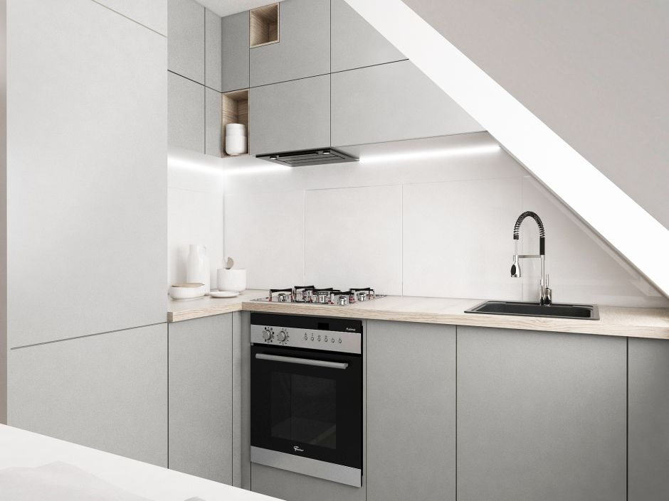 Mała kuchnia na poddaszu  aranżacje małych kuchni  inspiracje  aranżacje k   -> Kuchnia Na Poddaszu Galeria Zdjeć