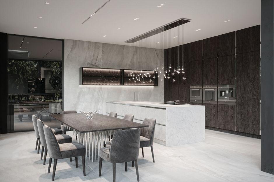 Marmur na podłodze w dużej otwartej kuchni