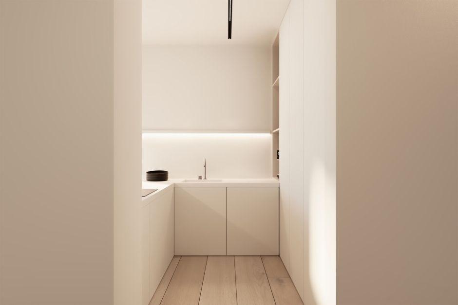 Minimalizm W Kuchni Z Jasnym Drewnem Na Podłodze Kuchnia W
