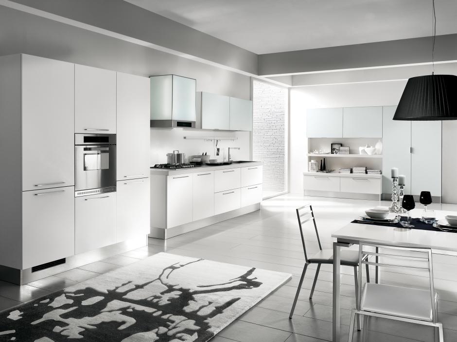 Nowoczesna duża kuchnia w kolorze białym  Rad Pol