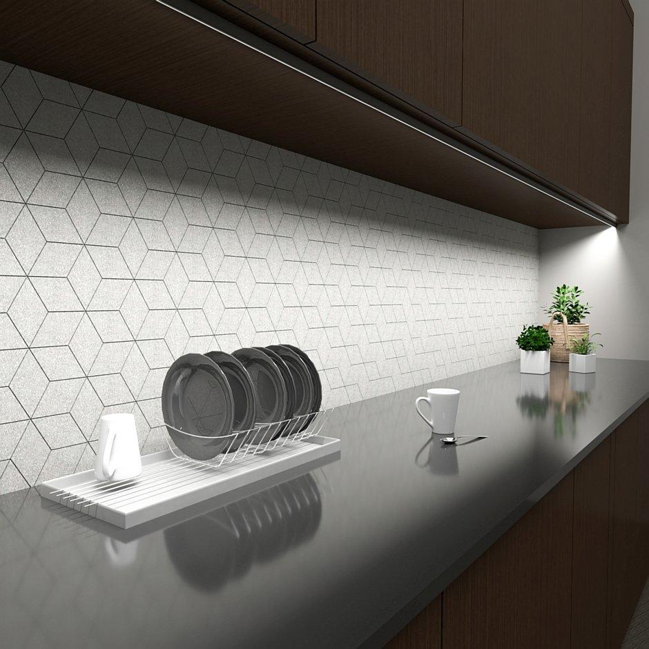 Oświetlenie podszafkowe mebli kuchennych profil Tri-Line Mini kątowy