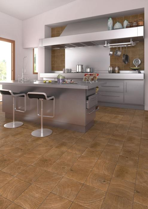 Kuchnia otwarta  płytki drewnopodobne Sutton Vives   -> Kuchnia Plytki Vives