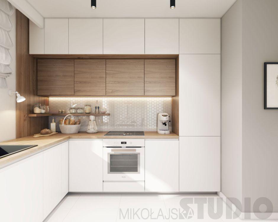 Płytki Heksagonalne W Kuchni Z Drewnianymi Szafkami Drewno