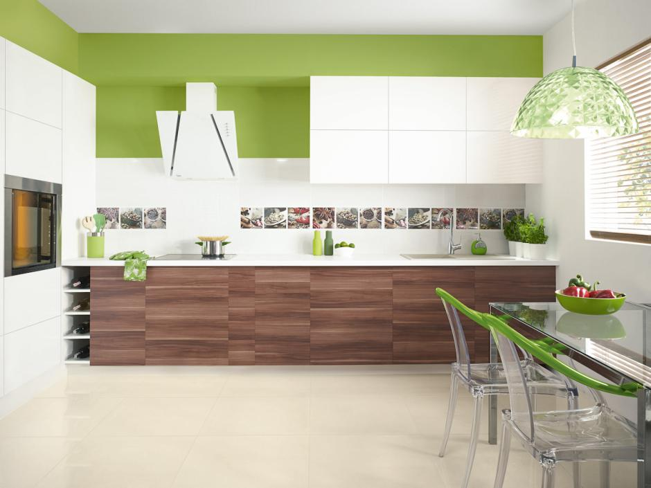 Zielona otwarta kuchnia z płytkami Paradyż  kuchnia  -> Kuchnia Z Kafelki