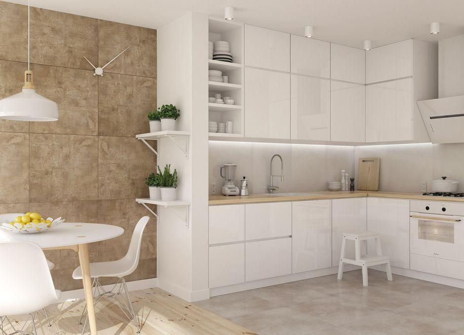 Jasna otwarta kuchnia z płytkami Otis Ceramstic  kuchnia   -> Kuchnia Jasna Polysk
