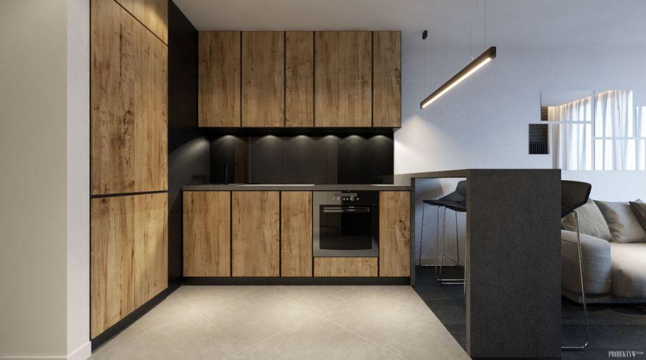 Drewno I Czerń W Otwartej Kuchni Drewno W Kuchni