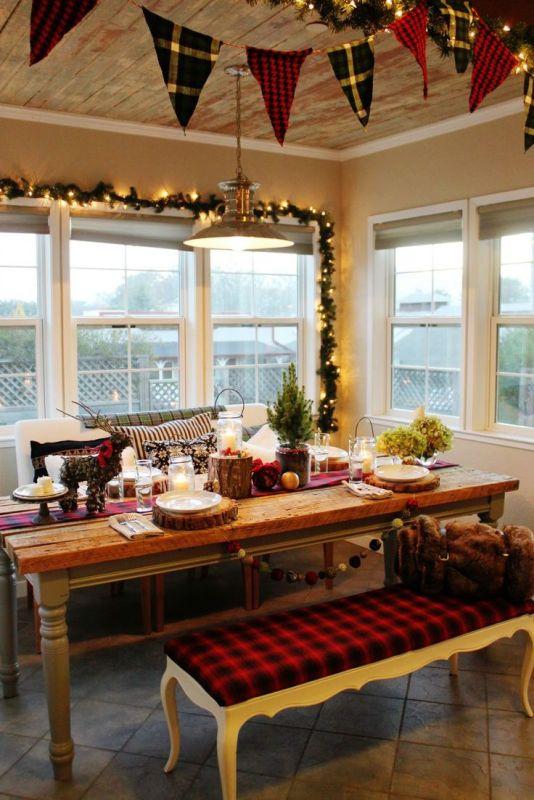 Świąteczne dekoracje stołu w jadalni - Świąteczny wystrój ...