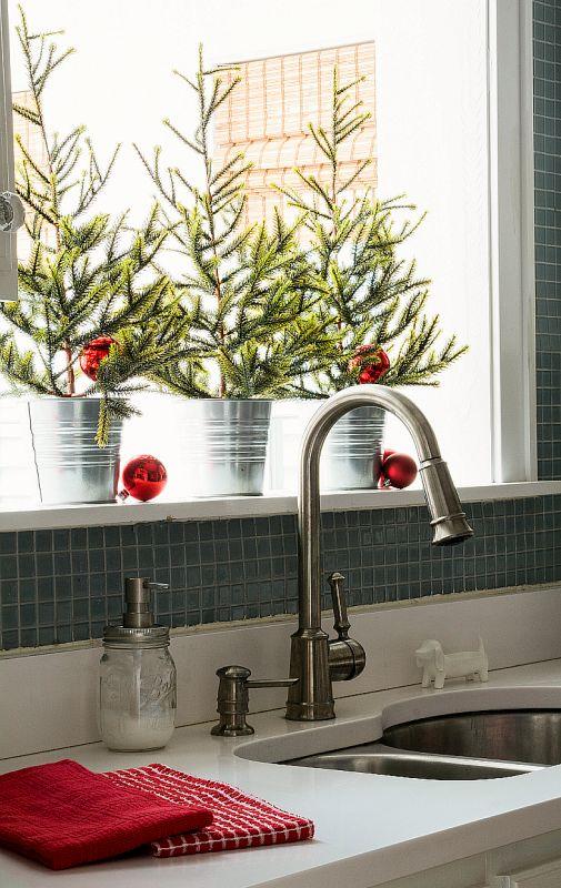 świąteczne Dekoracje Okna W Kuchni świąteczny Wystrój
