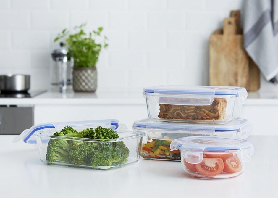 Szklane pojemniki do przechowywania żywności z pokrywą