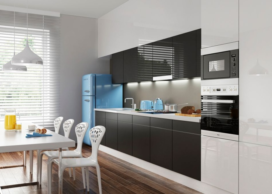 Szkło Colorimo w kuchni - Czarny 9005, Sati Orzechowy 7M30, Sati Bazaltowy 7M21, Extra Biały 9003