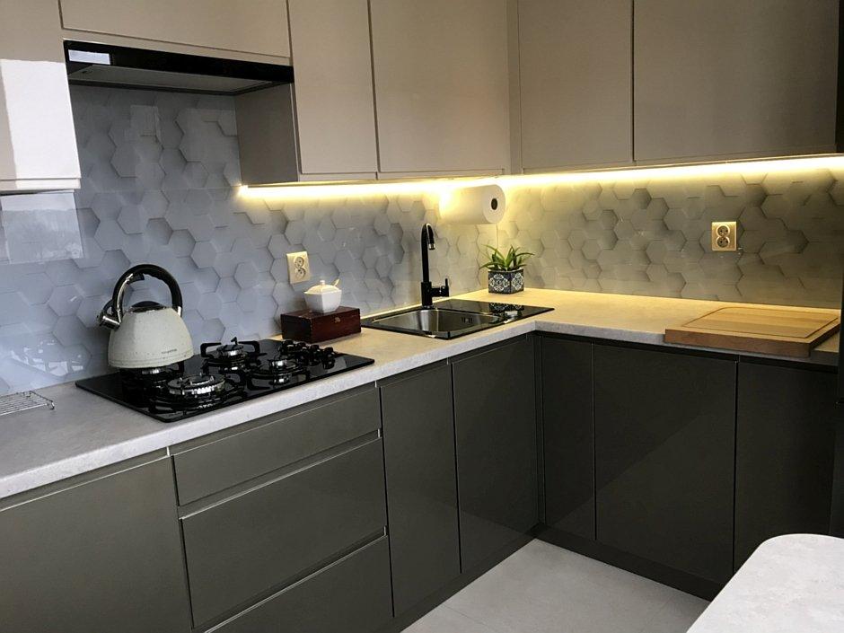 Szkło na backsplashu z grafiką 3D w kuchni