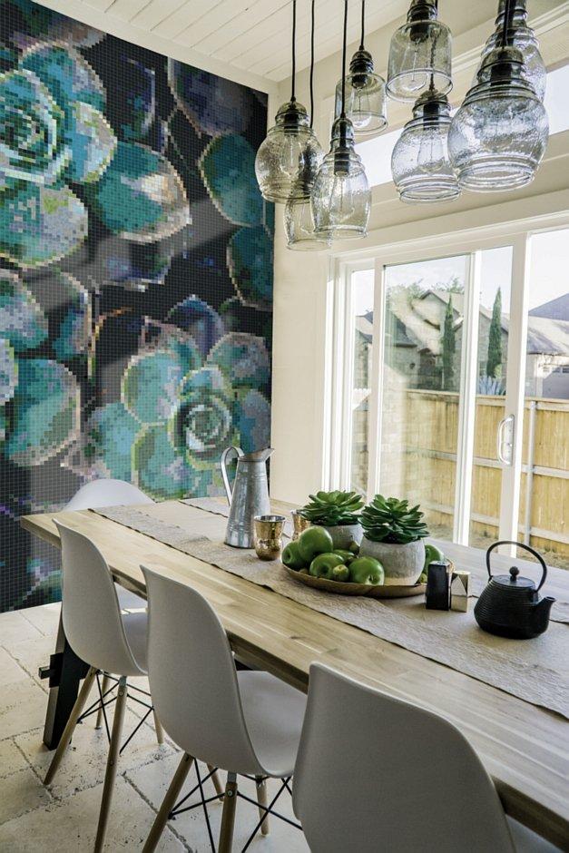 Mozaika heksagonalna z botanicznym motywem sukulentów