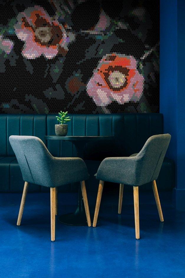 Mozaika heksagonalna z motywem kwiatów