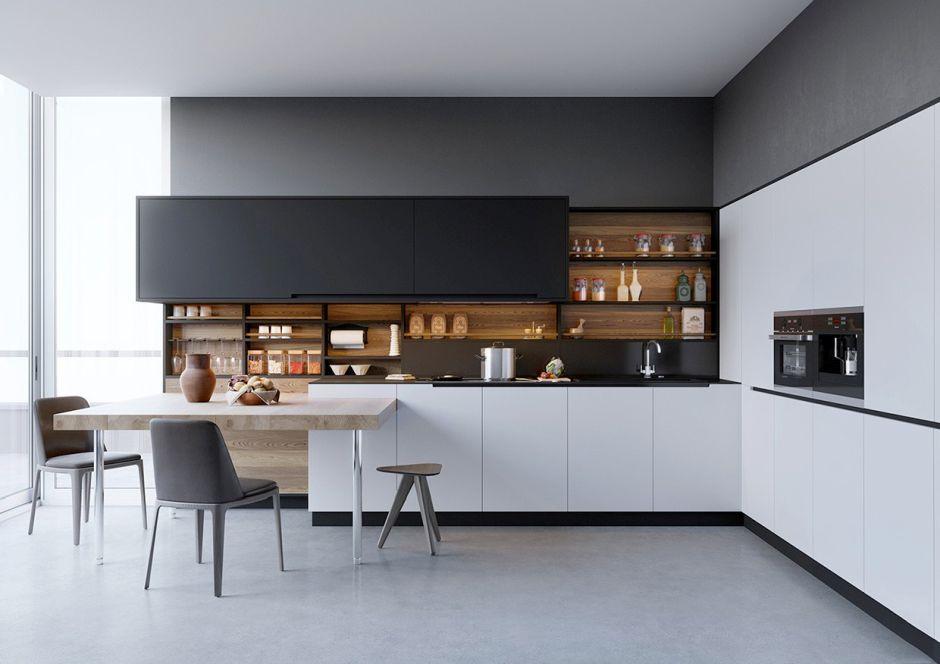 Biel Czerń Drewno W Kuchni W Stylu Minimalistycznym