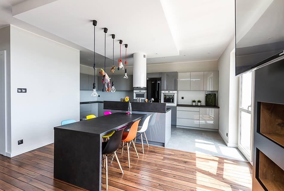 Max Kuchnie - Studio Meblostrefa - wyspa kuchenna połączona z dużym stołem
