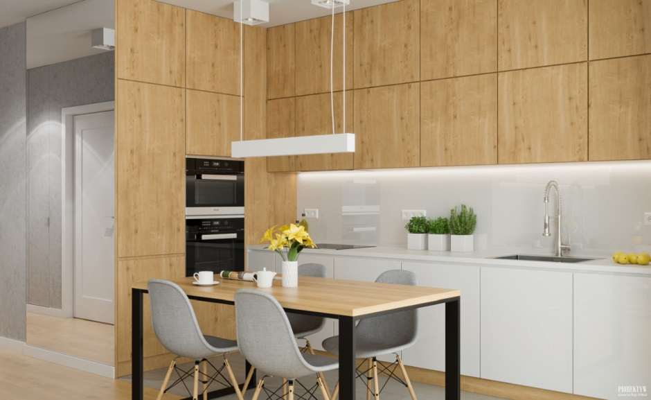 Biel I Drewno W Kuchni Otwartej Na Salon Drewno W Kuchni