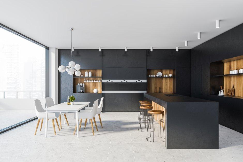 Zabudowa kuchenna na całą ścianę w dużej kuchni