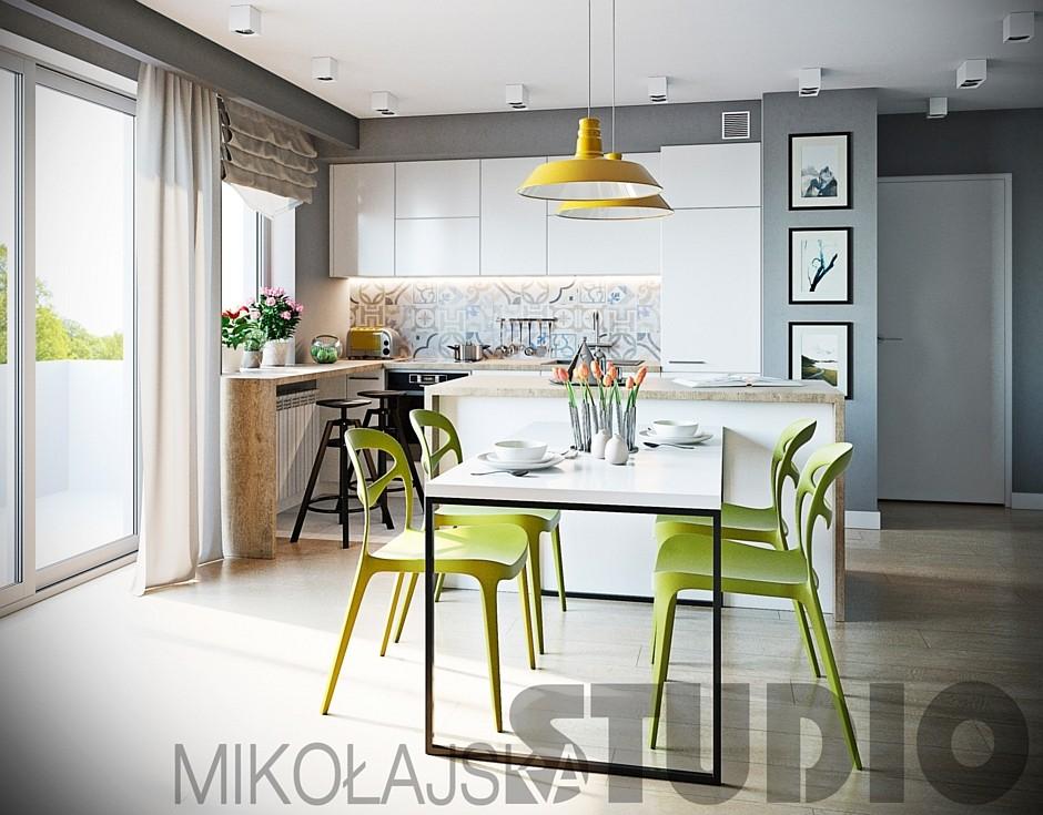 Zielone Plastikowe Krzesła W Jadalni Połączonej Z Kuchnią
