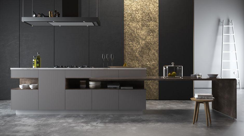 Złota Mozaika W Czarnej Kuchni Kuchnia W Kolorze Czarnym
