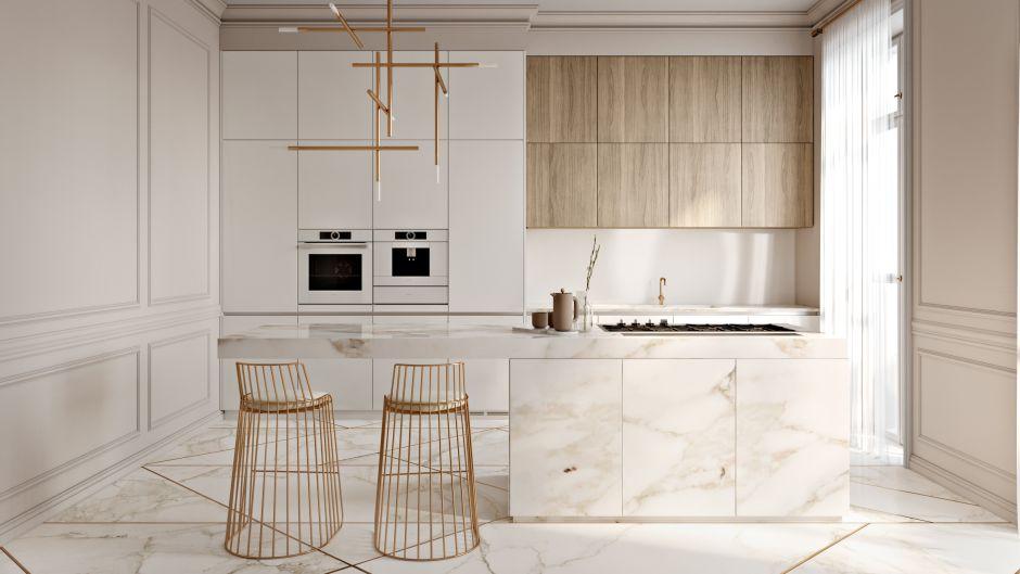 Złote Dodatki Oraz Marmur W Kuchni W Stylu Minimalistycznym