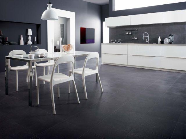 Płytki naśladujące wzór kamienia i drewna  ściany i podłogi  Kuchenny com pl -> Kuchnia Biel Grafit