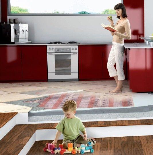 Ciepła podłoga w kuchni Raychem