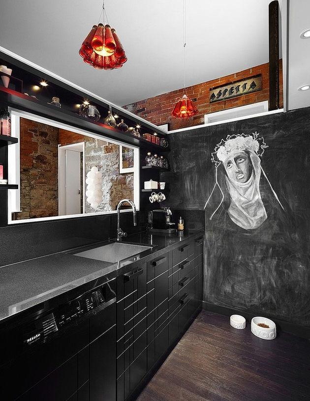 Czarna Tablica Kredowa W Aranżacji Kuchni Design Ze świata