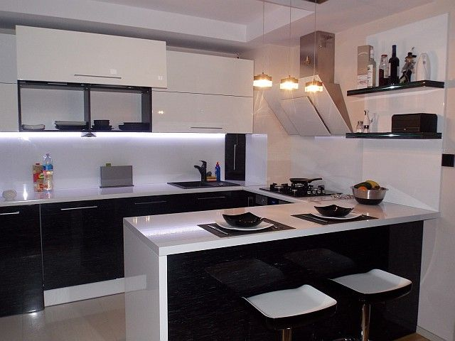 Kolor w kuchni  trendy kuchenne  kuchenny com pl -> Kuchnia Biel Grafit