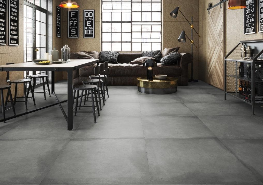 Płytki gresowe imitujące beton z kolekcji Lukka grafit - Cerrad